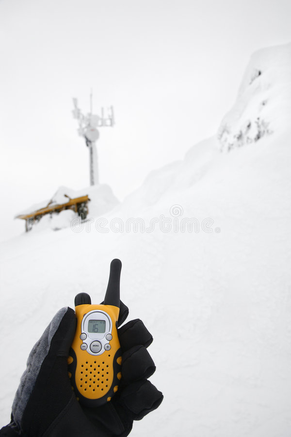 Download Hand Holding Walkie Talkie In Snow. Stock Photo - Image: 2037682