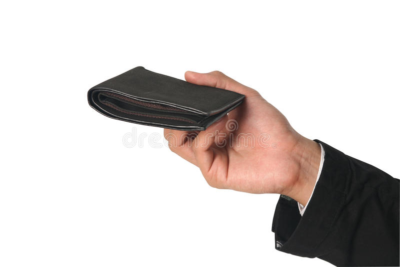 Hand holding wallet stock photo