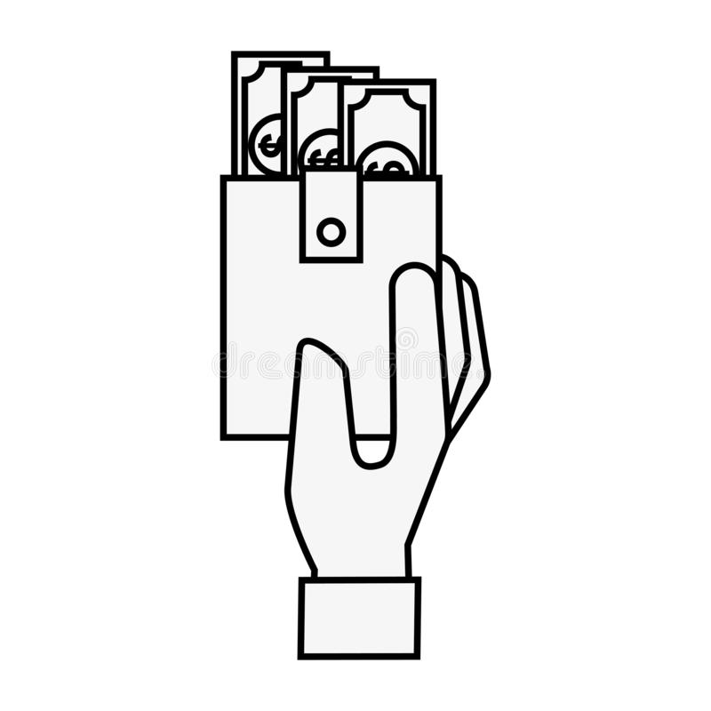 Hand holding wallet banknote money online shopping. Vector illustration outline vector illustration