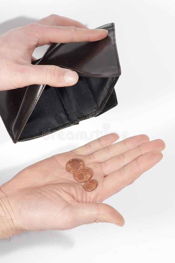 Download Hand Holding A Wallet Almost Empty, With A Few Coins,  On White Stock Image - Image: 29029935