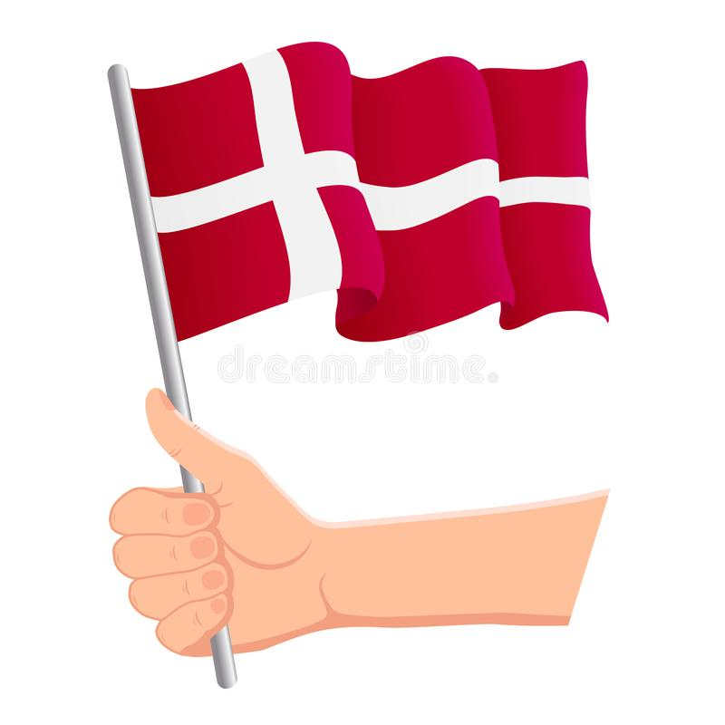 Hand holding and waving the national flag of Denmark. Fans, independence day, patriotic concept. Vector illustration. Eps 10 vector illustration