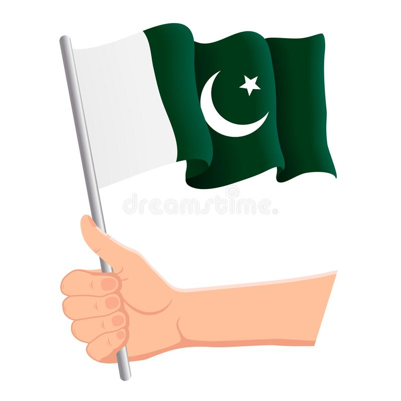 Hand holding and waving the national flag of Pakistan. Fans, independence day, patriotic concept. Vector illustration stock illustration