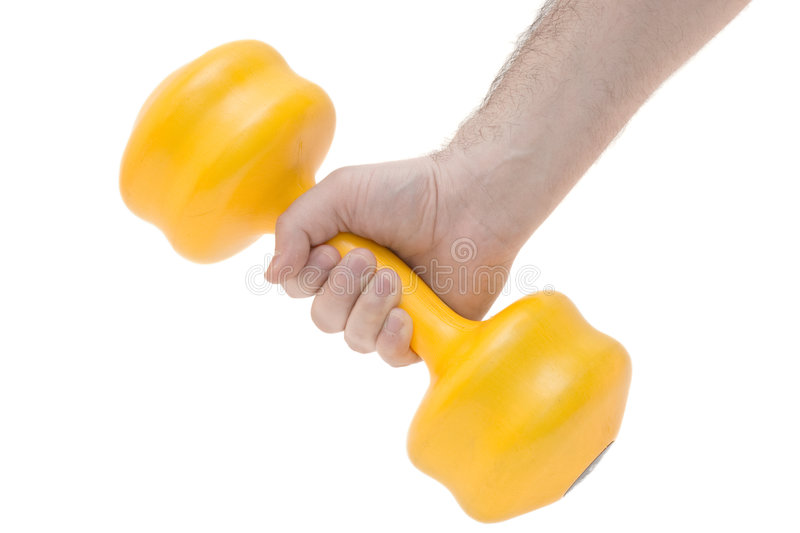 Hand holding weights stock photos