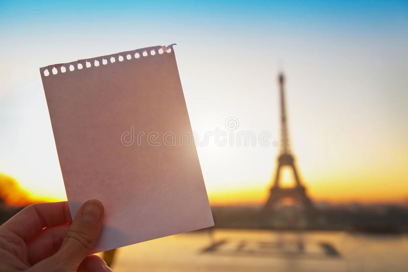 Letter message from Paris stock photography