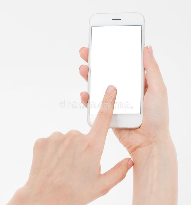 Hand holding white cellphone isolated on white clipping path inside. Online shopping. Top view. Mock up. Copy space. Template.Blan royalty free stock image
