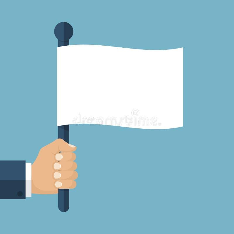 Hand holding white flag stock illustration