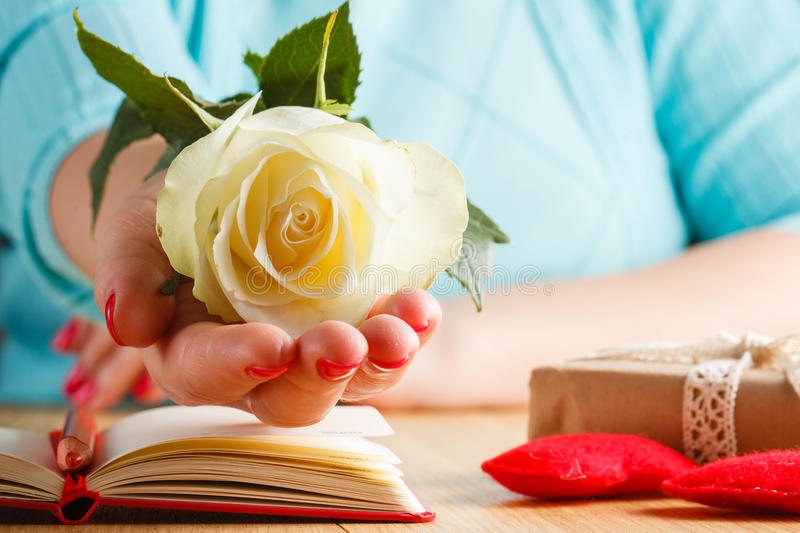 Hand holding white rose on open notebook and hearts stock photography