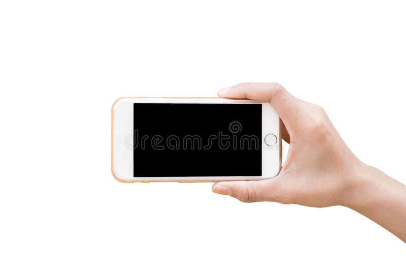Hand holding White Smartphone with blank screen isolated royalty free stock photo