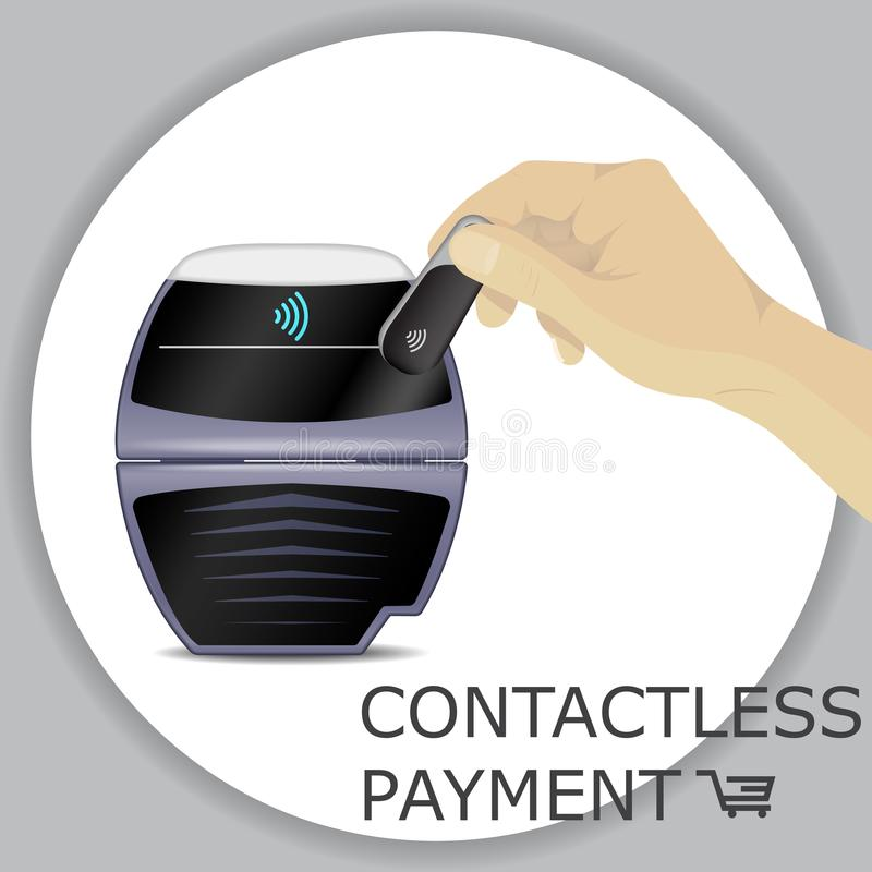 Hand holding wireless, contactless fob, keychain for payments th royalty free illustration