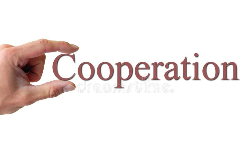 Download Hand Holding The Word Cooperation Stock Photography - Image: 13753062