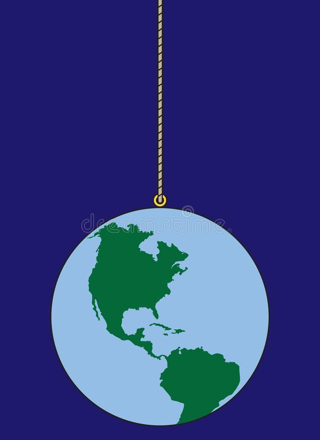 World on a String. The planet earth is out in space dangling from a string vector illustration