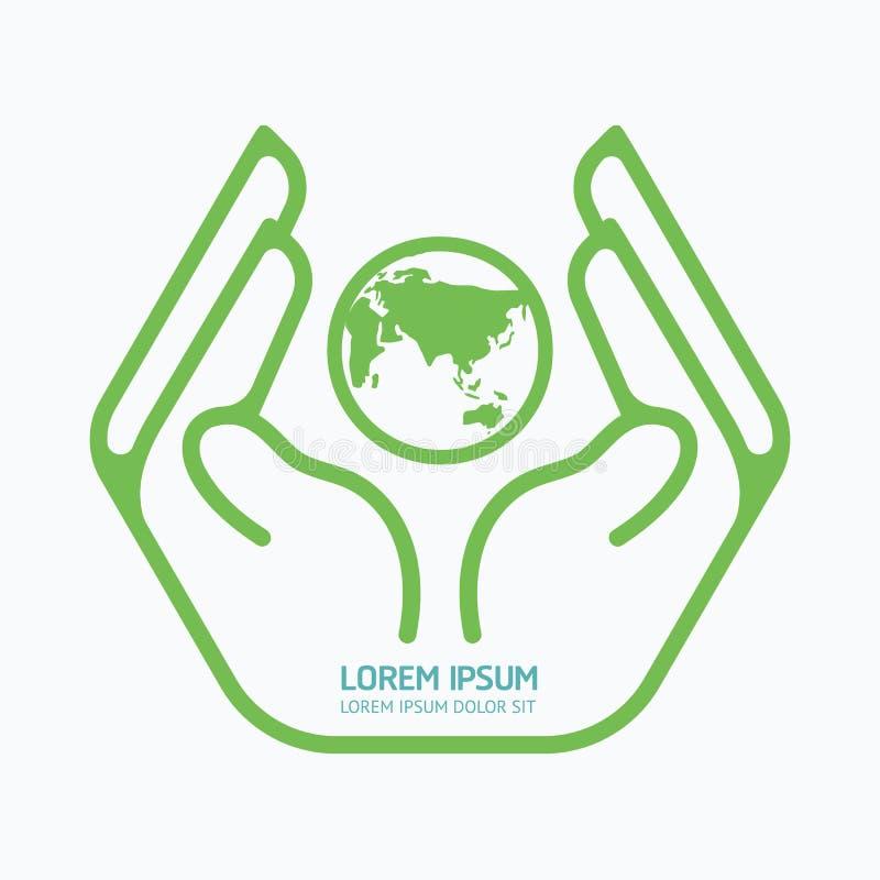 Hand holding world.logo design,safety care concept. vector illustration