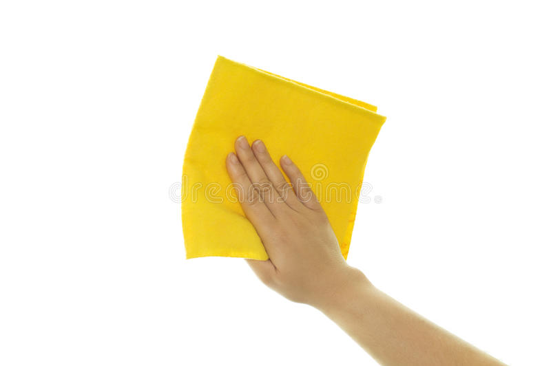 Hand Holding A Yellow Cleaning Royalty Free Stock Images