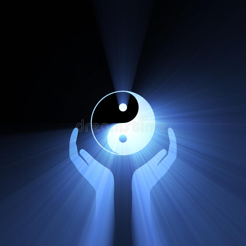 Hand holding Yin Yang sign light flare. Hands supporting Yin Yang symbol with powerful blue halo flares. Abstract Tai Chi background royalty free illustration
