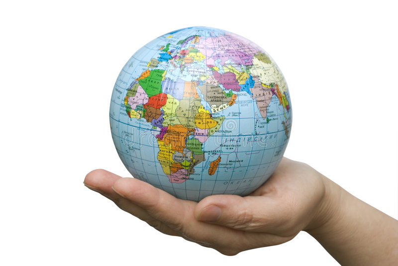Hand holdings globe stock images