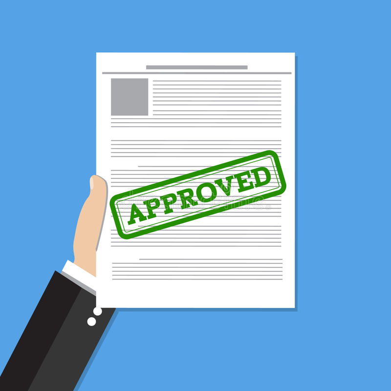 Hand holds approved document vector illustration