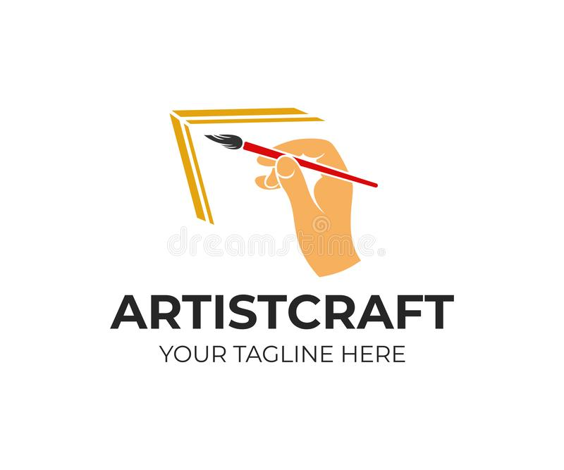 Hand holds an art brush, artist paints picture, logo design. Drawing, art, creativity and inspiration, vector design vector illustration