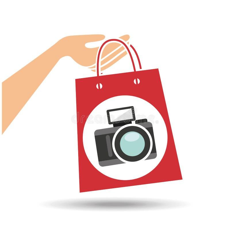 Hand holds bag gift camera design vector illustration