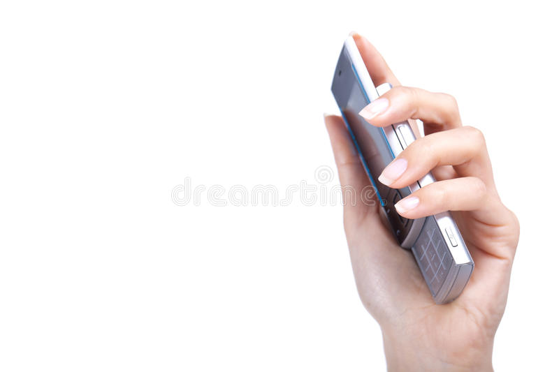 Download Hand holds cellphone stock illustration. Image of female - 25995839