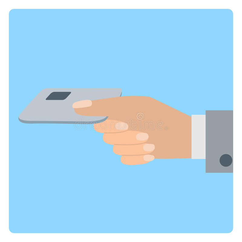 Hand holds credit card. Vector illustration flat style. Hand holds credit card. Vector illustration icone in flat design style royalty free illustration