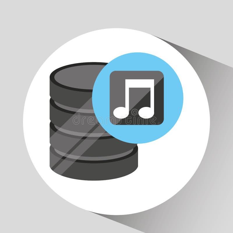 Hand holds data music icon stock illustration