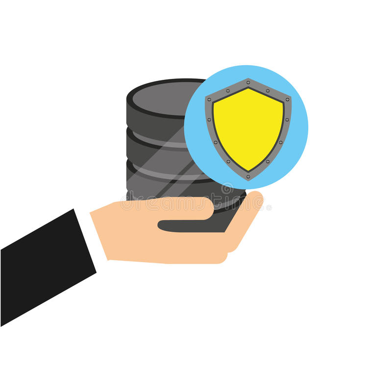 Hand holds data shiled protection icon. Vector illustration eps 10 royalty free illustration