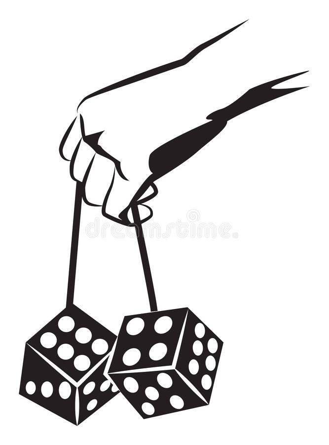 Hand holds dice stock illustration