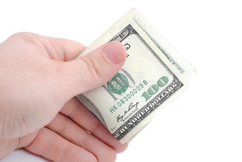 Download The Hand Holds Dollars On White Stock Photo - Image: 11417016