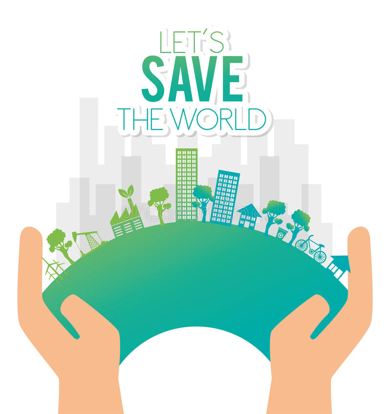 hand holds eco city save the world stock illustration