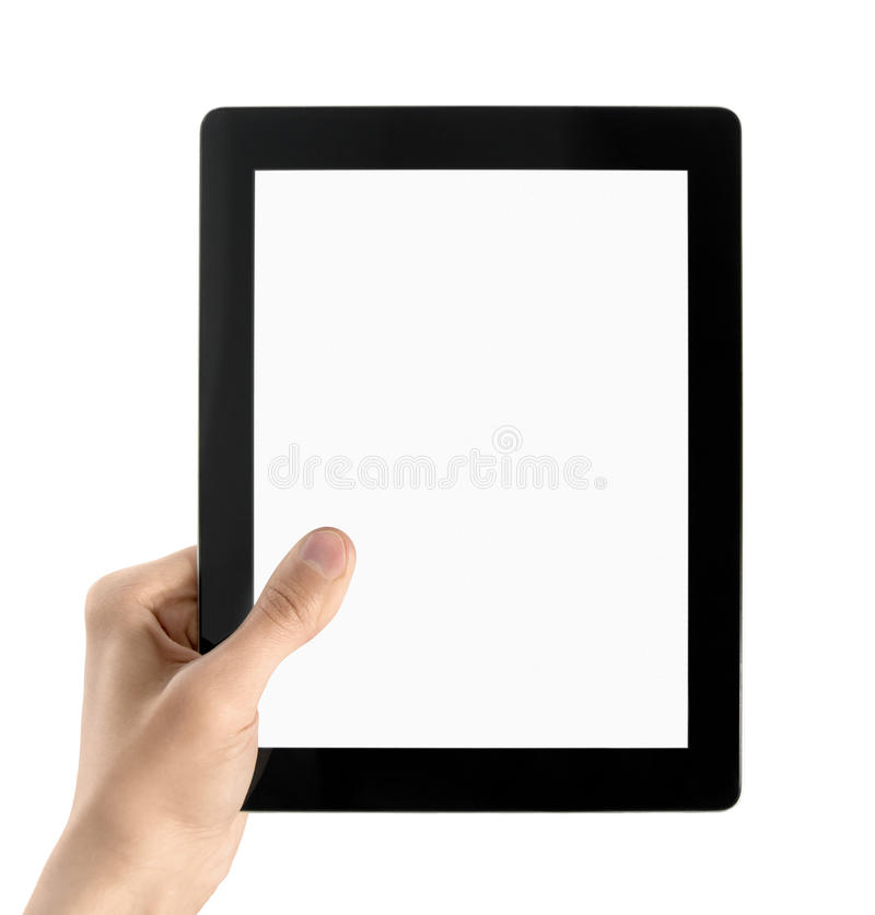 Hand Holds Electronic Tablet PC Isolated. Man hands are holding electronic tablet with blank screen. Isolated on white