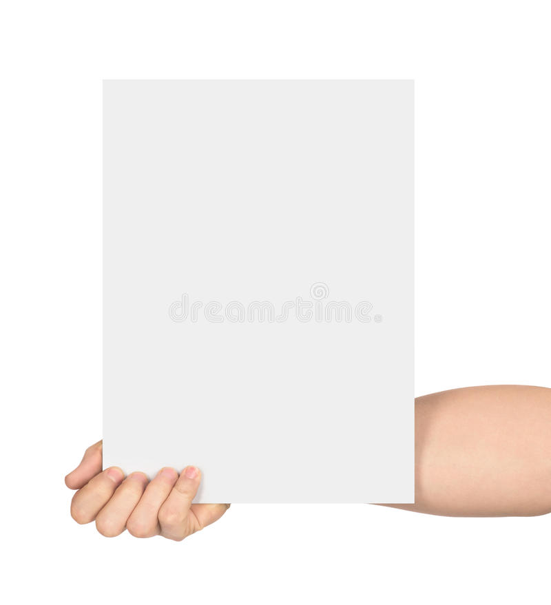 Hand holds empty sheet of paper stock photography