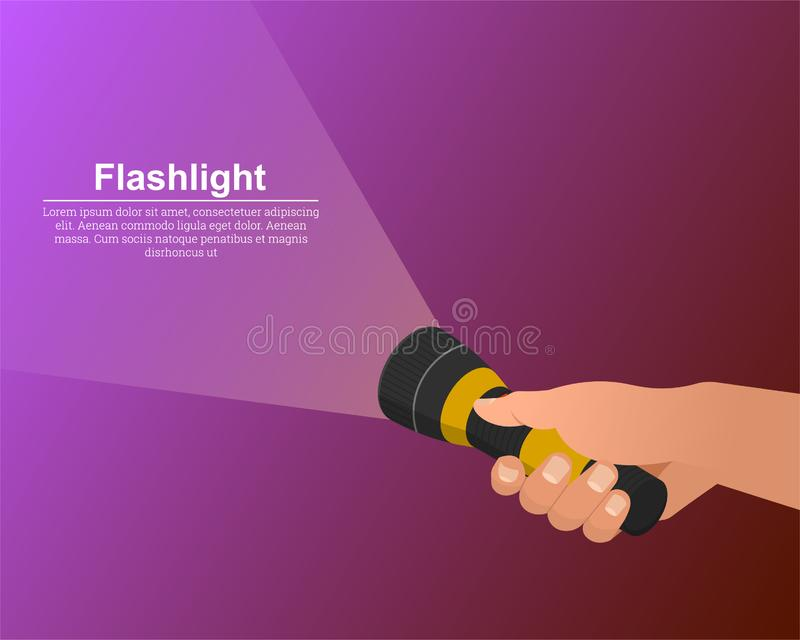 The hand holds the flashlight on. The notion of search. Place for text.3D.Izometric.Vector illustration in modern flat style royalty free illustration