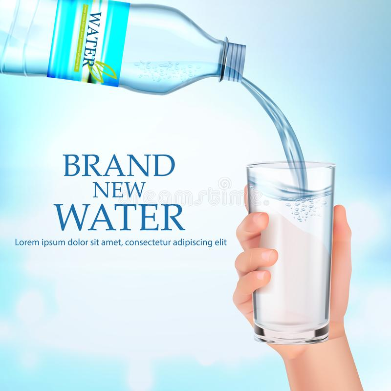 A hand holds a glass of water. Vector stock image