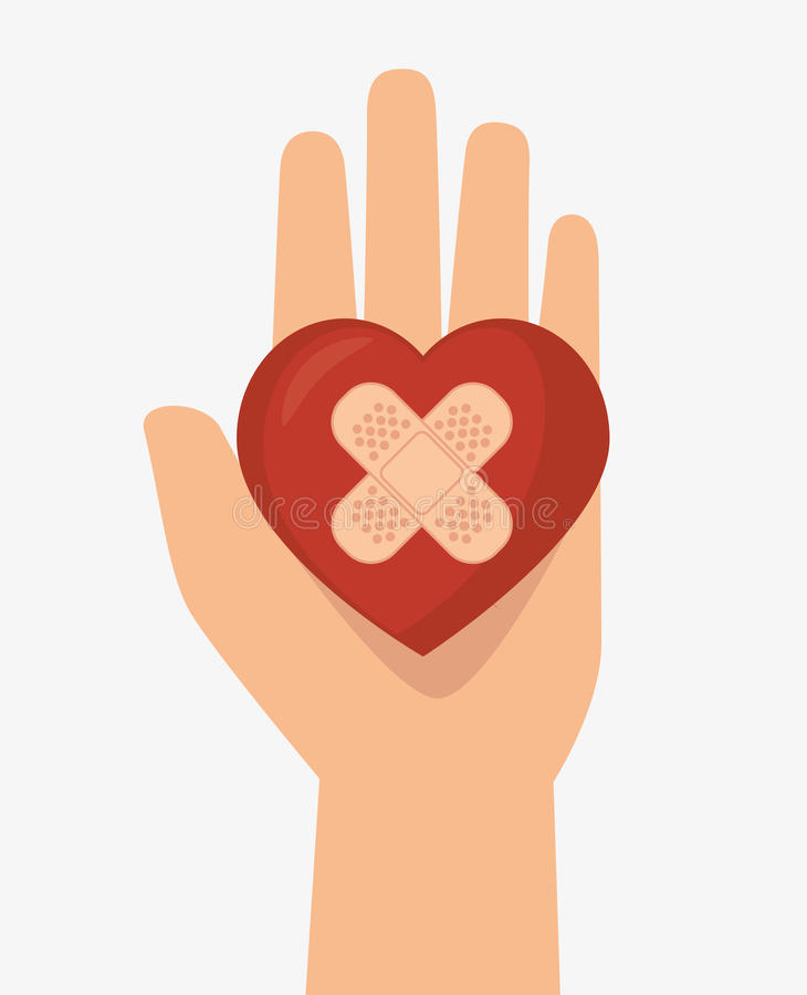 Hand holds heart cure band icon vector illustration