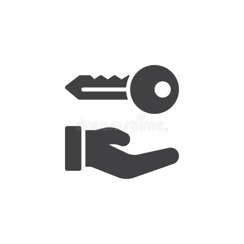 Hand holds home keys icon vector stock illustration