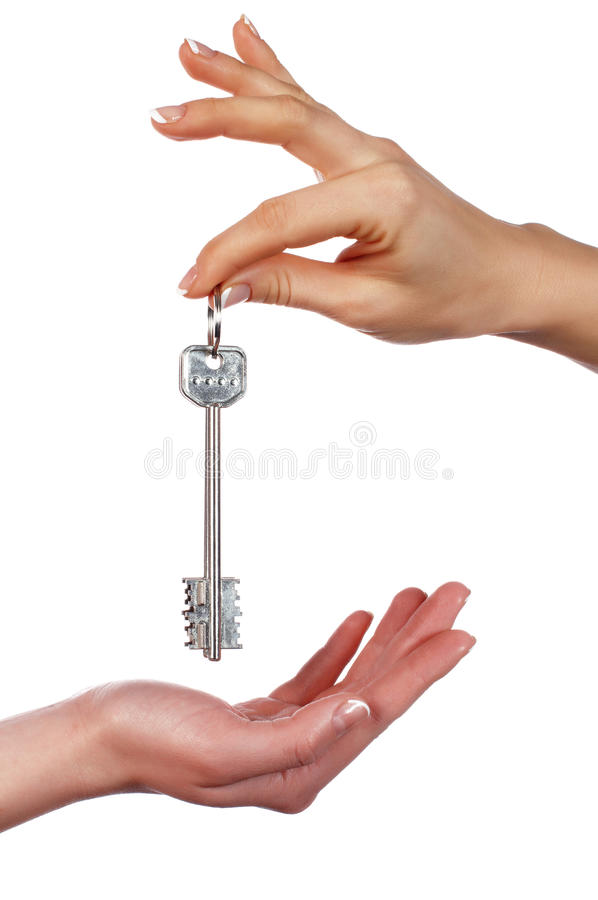 Download The Hand Holds A Key From The House Stock Image - Image of give, door: 12456165