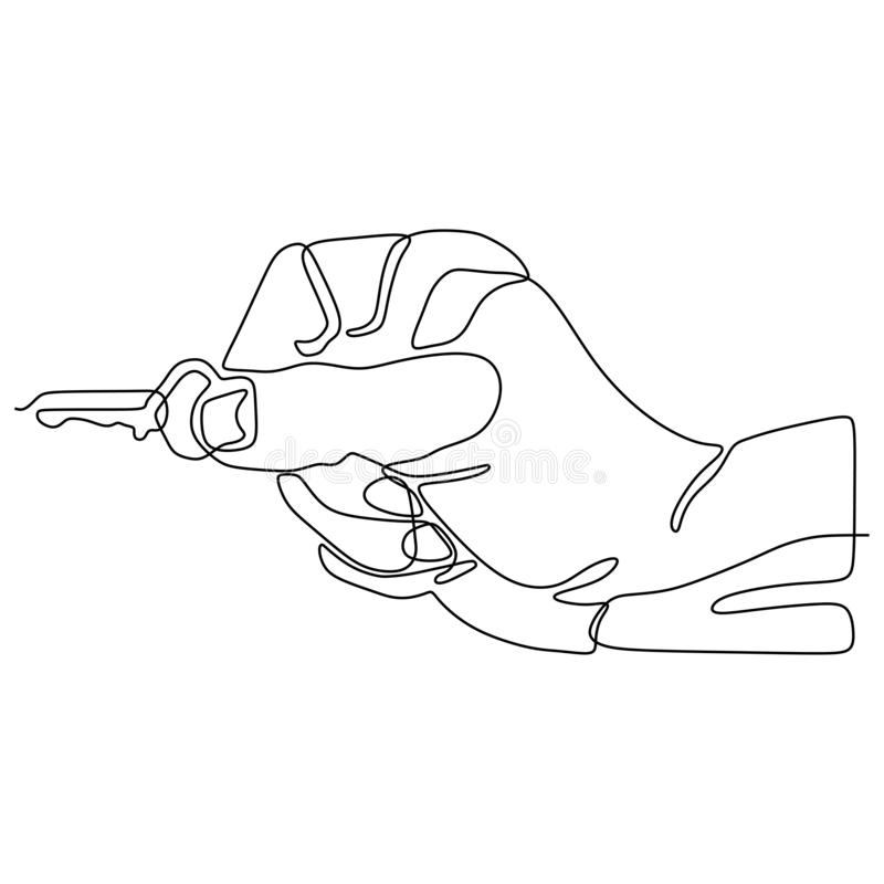 The hand holds the keys to the car or apartment continuous line drawing vector illustration sign and symbol. Icon, lock, safe, door, security, unlock, access vector illustration