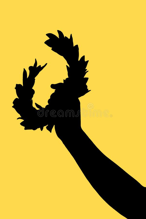 Hand holds a laurel wreath - Outline on solid color background - Success and fame concept image royalty free illustration