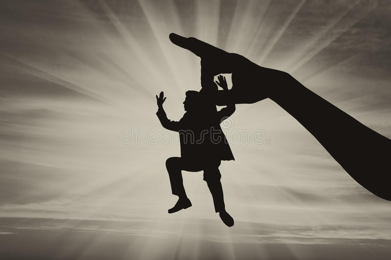Hand holds man by collar in air stock illustration