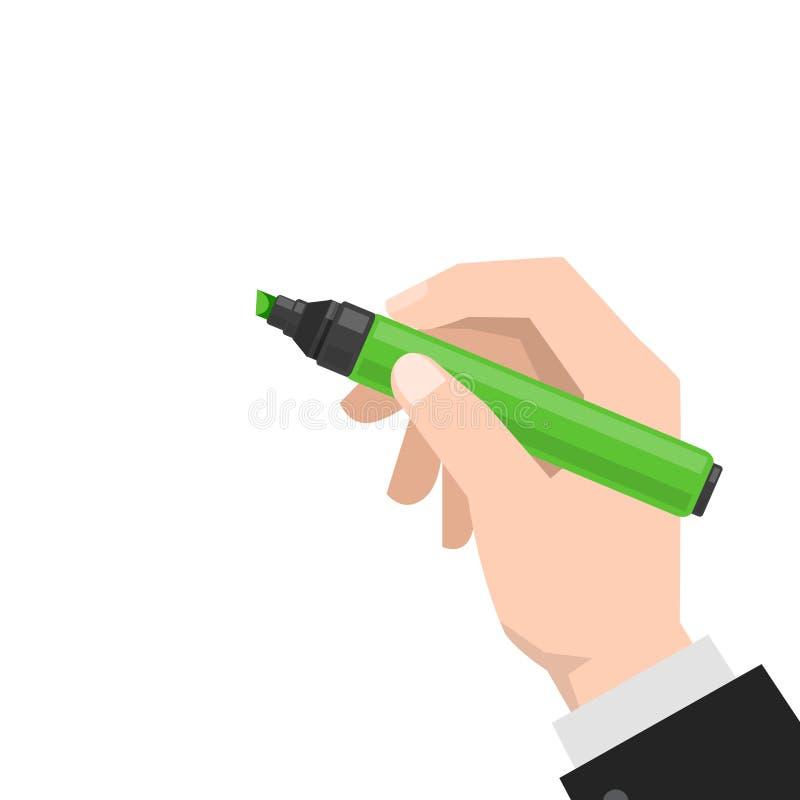 Hand holds the marker vector illustration