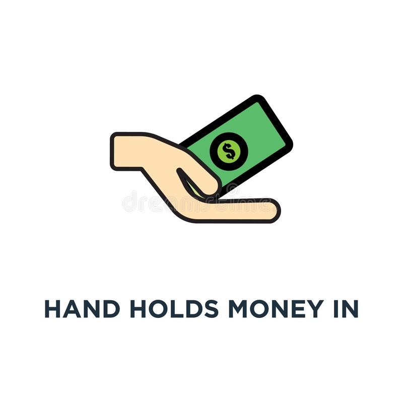 hand holds money in cash, payment or transaction icon. salary, financial and life style design, concept symbol design, donation, stock illustration