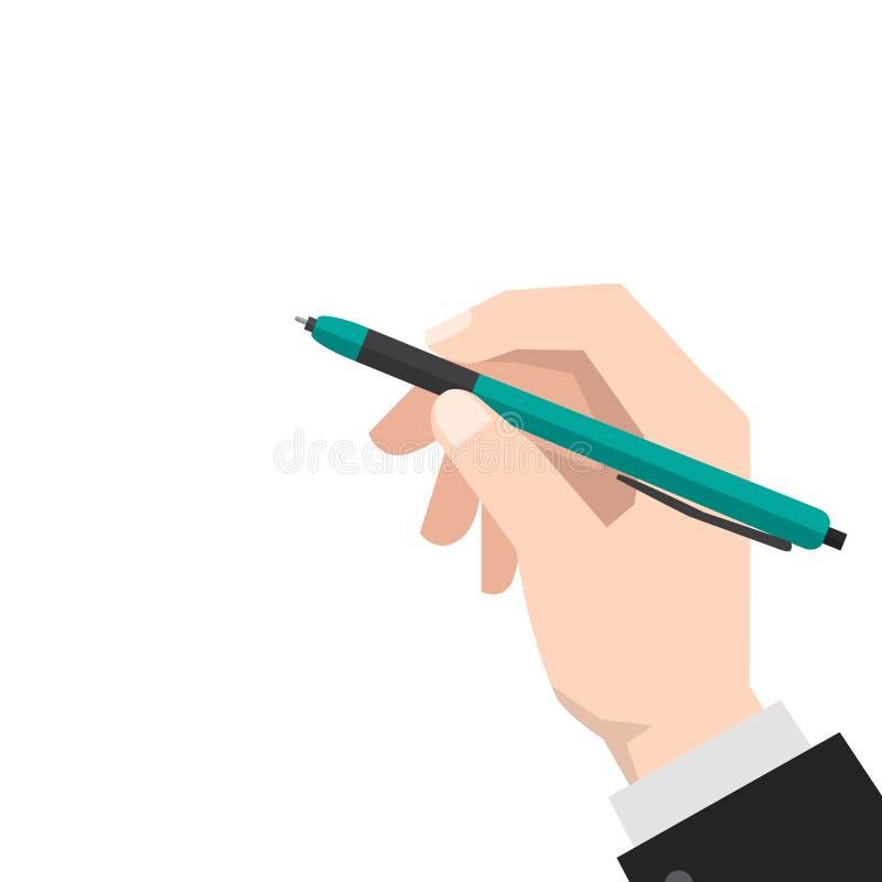 Hand holds the pen stock illustration