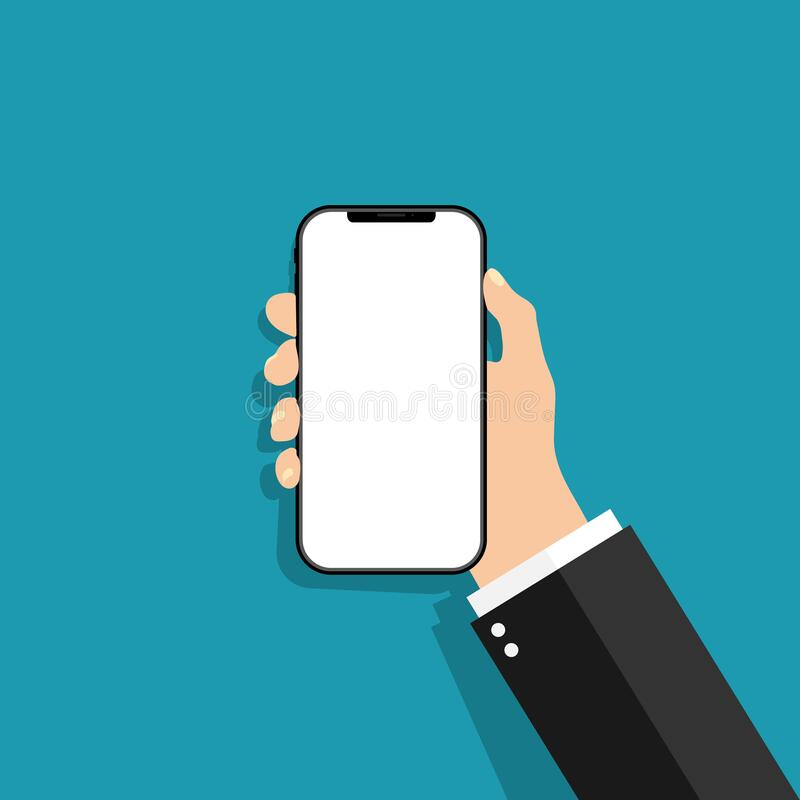 Hand holds the phone in a flat style. Mobile phone with touch blank screen. Template of smartphone for mobile app. Design of stock illustration