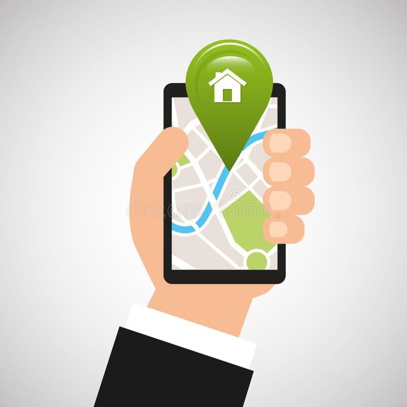 Hand holds phone navigation app home royalty free illustration