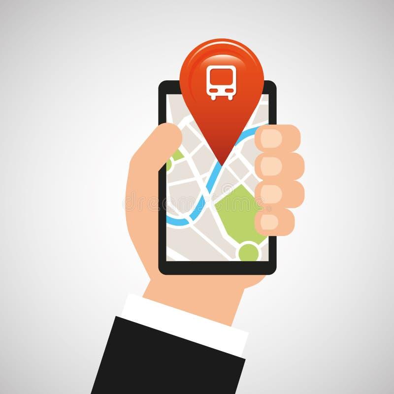 Hand holds phone navigation app train station vector illustration