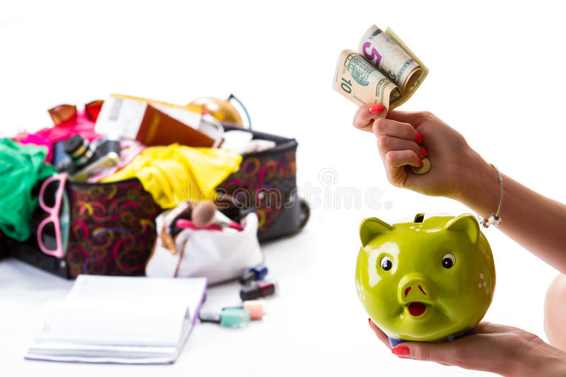 Hand holds a piggy bank. royalty free stock photography