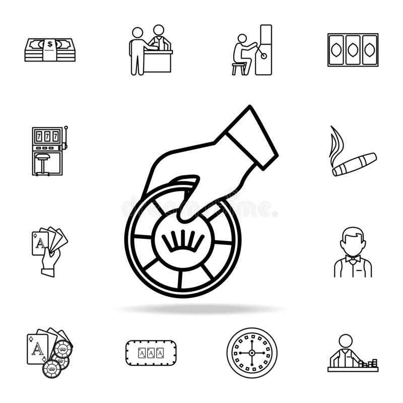 The hand holds a playing chip icon. Detailed outline set of casino element icons. Premium graphic design. One of the collection stock illustration
