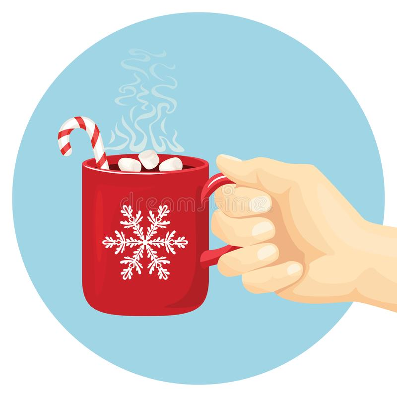 Hand holds red cup with steaming cocoa. Hot chocolate drink with marshmallows and Christmas stick. royalty free illustration