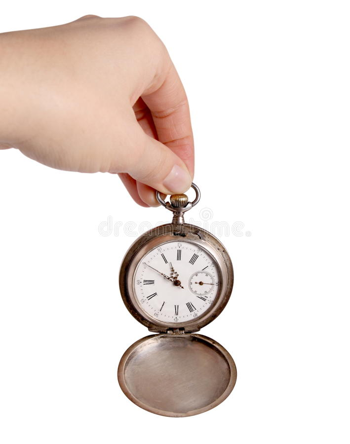 Hand holds silver pocket watch stock photography