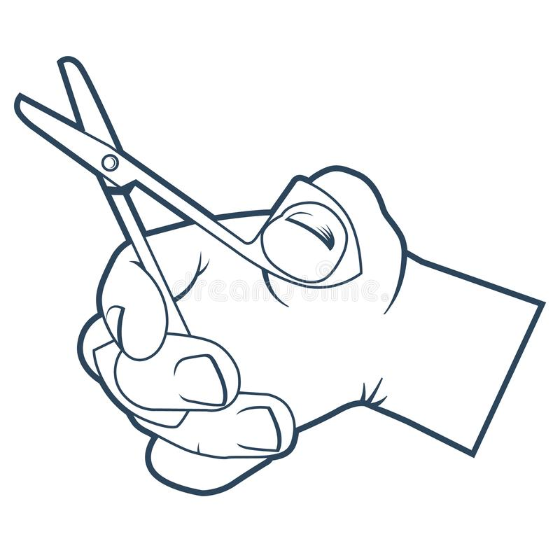 Hand holds small scissors for cutting. stock illustration